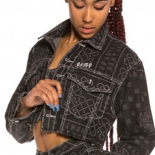 Grimey Carnitas Girl Crop Denim Jacket SS20 Black
