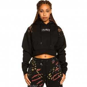 """Grimey """"Jazz Thing"""" Girl Lace Hoodie - Black 