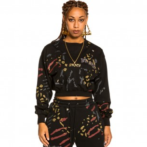 """Grimey """"Jazz Thing"""" All Over Print Long Sleeve Crop Top - Black 