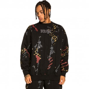"""Grimey """"Jazz Thing All Over Print"""" Padded Crewneck - Black   Fall 21"""