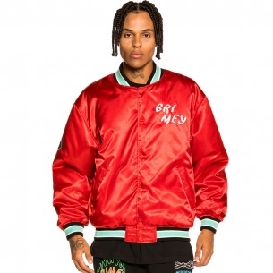 """Grimey """"Destroy All Fear"""" Reversible Satin Jacket - Red 